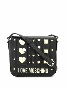 Love Moschino logo plaque shoulder bag - Black
