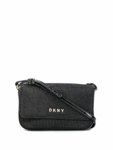 DKNY logo plaque cross body bag - Black