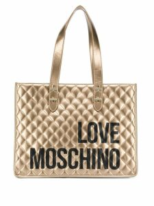 Love Moschino logo print quilted tote bag - Gold