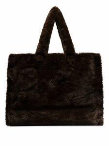 Stand Lola faux-fur tote bag - Brown
