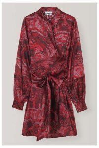 Ganni Silk Stretch Satin Wrap Dress - 38 Black