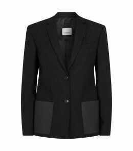 Leather Pocket Wool Blazer