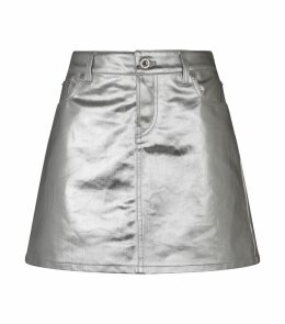 Metallic Coated Denim Skirt