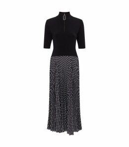 Wool Marine Polka-Dot Midi Dress