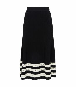 Ribbed Stripe Midi Skirt