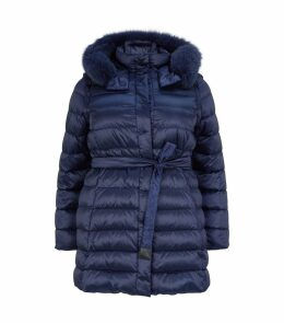 Reversible Fox Fur Trim Quilted Coat