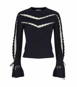Lace-Panel Knit Sweater