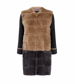 Contrast Rabbit-Fur Coat