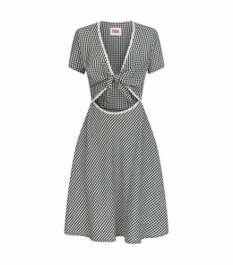 Gingham Daisy Cut-Out Dress