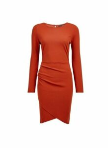 Womens **Rust Wrap Skirt Bodycon Dress- Red, Red