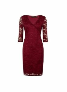Womens **Oxblood Wrap Lace Bodycon Dress- Red, Red