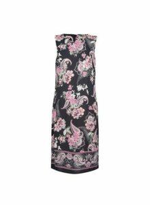 Womens **Billie & Blossom Tall Black Paisley Print Shift Dress- Black, Black