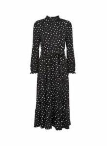Womens Wrong Image Black Floral Print Puff Sleeve Tea Midi Dress, Black