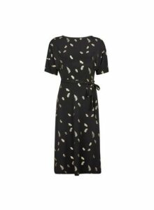 Womens Petite Black Feather Printed Midi Dress, Black