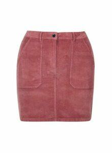 Womens **Dp Curve Rose Cord Pocket Mini Cotton Blend Skirt- Pink, Pink