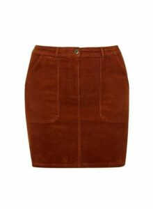 Womens **Dp Curve Tan Cord Pocket Mini Skirt- Brown, Brown