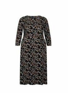 Womens **Dp Curve Black Floral Print 'Molly' Midi Skater Dress- Black, Black