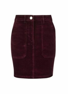 Womens Petite Berry Cord Skirt- Red, Red