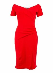 Womens *Feverfish Red Off Shoulder Dress- Red, Red
