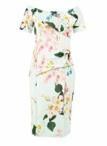 Womens *Feverfish Mint Bardot Floral Print Dress- Mint, Mint