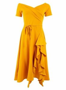Womens *Feverfish Mustard Frill Midi Bardot Dress, Mustard