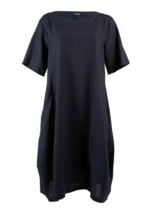 Womens *Feverfish Navy Linen Pocket Dress, Navy