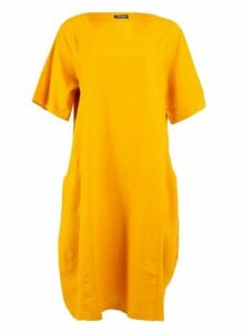 Womens *Feverfish Mustard Linen Pocket Dress- Mustard, Mustard