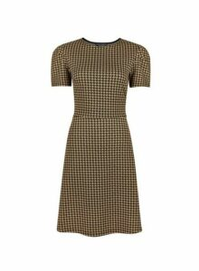 Womens Brown Tuck Sleeve Dogstooth Fit And Flare Dress, Brown