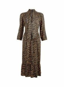 Womens Tan Pussybow Smock Midi Dress- Brown, Brown