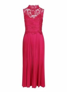 Womens **Little Mistress Pink Lace Pleat Maxi Dress- Pink, Pink