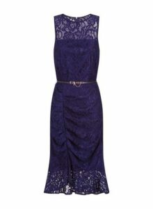 Womens **Paper Dolls Navy Lace Ruched Bodycon Dress- Navy, Navy