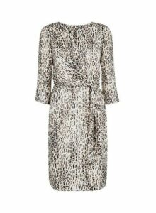 Womens **Billie & Blossom Beige Leopard Print Foil Dress- Beige, Beige