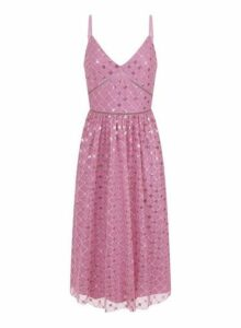 Womens **Little Mistress Rose Sequin Cami Prom Dress- Dusky Rose, Dusky Rose