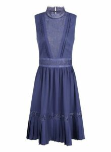 Womens **Little Mistress Lavender Gunmetal Lace Trim Midi Dress- Grey, Grey