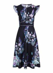 Womens **Little Mistress Multi Colour Floral Print Ladder Trim Dress, Multi Colour