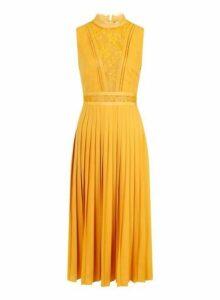 Womens **Little Mistress Yellow Lace Trim Pleat Midi Dress- Orange, Orange