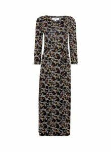 Womens **Tall Black 'Molly' Paisley Print Midi Dress, Black