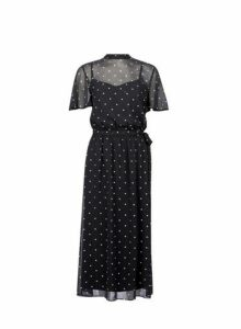Womens **Tall Black Spot Chiffon Skater Dress, Black