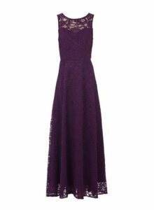 Womens *Jolie Moi Dark Purple Lace Maxi Dress- Purple, Purple