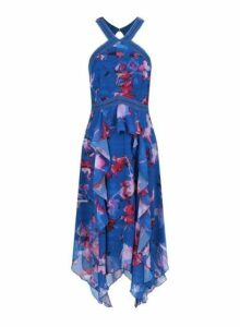 Womens **Little Mistress Blue Floral Print Halter Neck Midi Dress- Blue, Blue