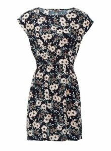Womens *Izabel London Navy Daisy Print Dress- Blue, Blue
