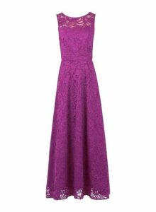 Womens *Jolie Moi Magenta Lace Maxi Dress- Magenta, Magenta