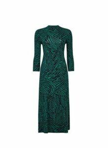 Womens Green Zebra Print Midi Dress- Black, Black