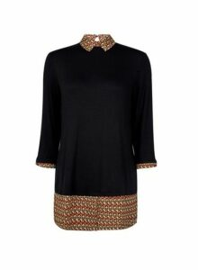 Womens Black Geometric Print 2-In-1 Top- Black, Black