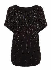 Womens *Quiz Stud Detail Short Sleeve Top- Black, Black