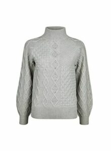 Womens Grey High Neck Cable Jumper, Grey