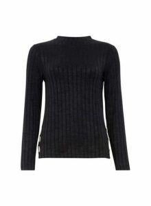 Womens Black Button Side Ribbed Top- Black, Black