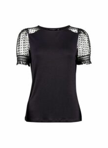 Womens Black Dobby Mesh Puff Sleeve T-Shirt- Black, Black
