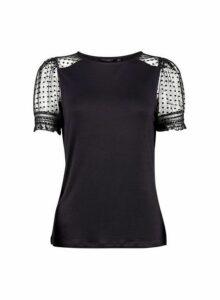 Womens Black Dobby Mesh Puff Sleeve T-Shirt- Black, Black
