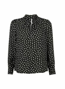 Womens Petite Black Smudge Spot Print 'Honey' Top- Black, Black